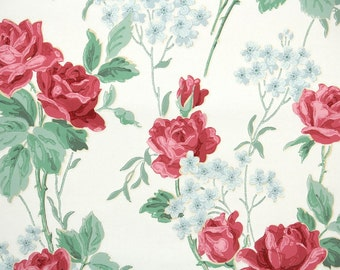 1940s Vintage Wallpaper by the Yard - Floral Wallpaper with Large Red Roses and Blue Flowers on White