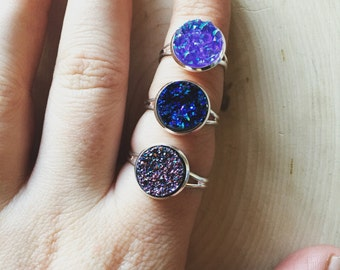 vibrant and brilliant violet druzy ring, gift for her