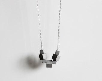 Concrete Jewelry, long concrete necklace, silver chain, statement necklace, architectural, modern jewellery, ORTOGONALE