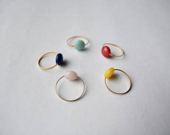 Multicolor Pearl Gold Ring