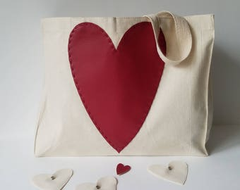 Natural Canvas Tote with Red Vegan Leather Heart