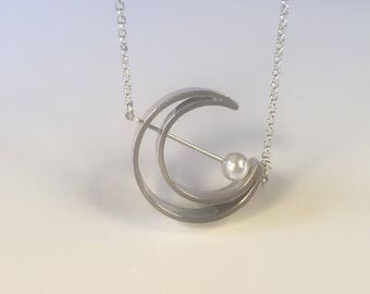 Handmade Sterling Silver and Pearl Moon Pendant