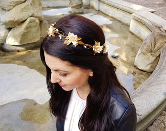 Gold flower crown tiara - Chic elegant headpiece - Bridal headband - Wedding hair accessories - Fairy headpiece - Goddess - Gold headpiece