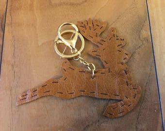 Leather Reindeer keyring, bag charm