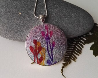 Hand Made Nuno Felt Pendant with Colourful Botanical Design in Purple, Red and Yellow