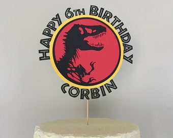 Jurassic Dinosaur Happy Birthday Cake Topper Customized with Name