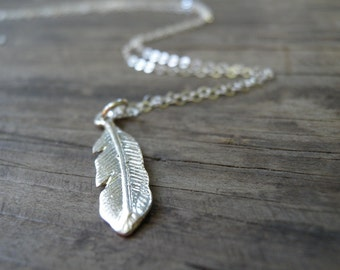 Feather Jewelry, LONG Silver Necklace, Silver Feather Necklace, Minimalist Necklace, Dainty Feather Necklace, Delicate Silver Necklace