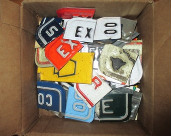 "50+ Assorted License Plate Letters - 1""(+/-) Height - Assemblage and Repurposed Art -"