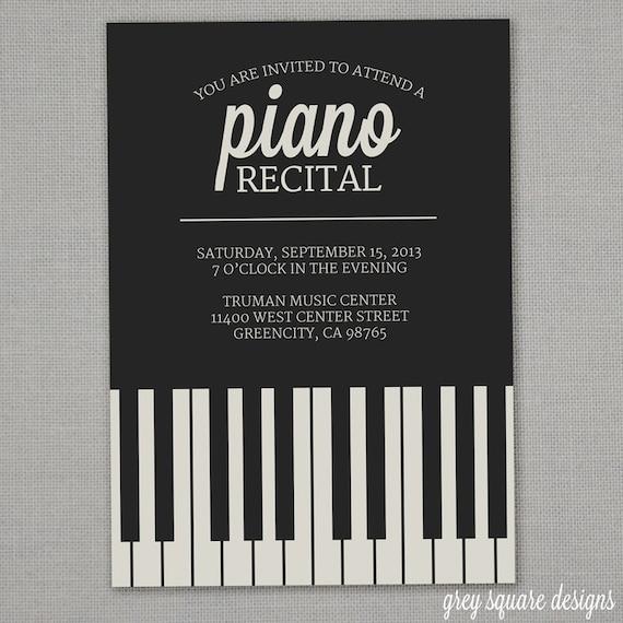 Artículos similares a Invitación Recital de piano en Etsy