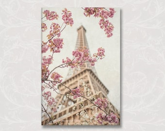Paris Photo Canvas, Eiffel Tower and Cherry Blossoms Gallery Wrapped Canvas, Large Wall Art, French Home Decor