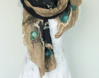 Wearable art scarf - Black brown wrap - Felted autumn scarf