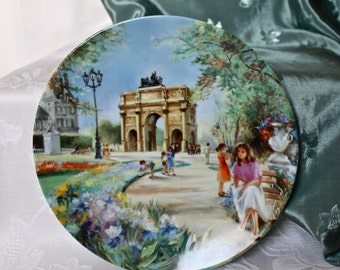 French Certified Collectible Wall Plate 'Le Jardin des Tuileries et le Louvre'