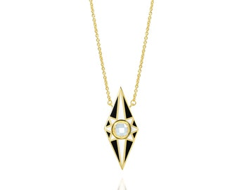 Kite Shape Starred Enamel Necklace