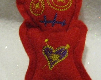 Voodoo Doll Pin Cushion or Pocket Pal - Red with Purple, Blue and Gold