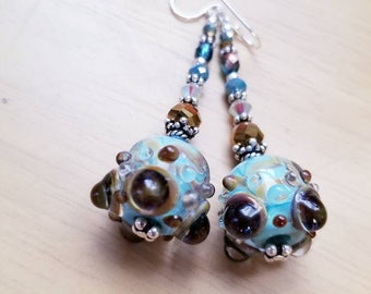 OOAK Aqua Lampwork Bead Flower Dangle Earring