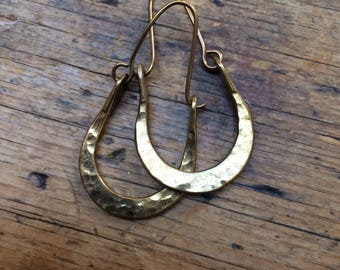 Vintage Brass Hammered Hoop Earrings