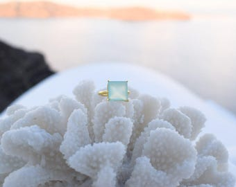 Max Aqua Chalcedony Ring, handmade from silver dipped in gold, Chalcedony