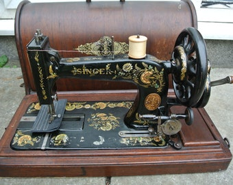 Antique Victorian SINGER 48K Sewing Machine with Case & Ottoman Carnation Decals, vintage clothing sewing, Vintage sewing,Sewing collectable