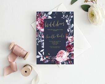 Bridal Shower Invitation - Navy Blue Burgundy Gold  - Shower Invitation - Bridal Shower Invite Printable #B102