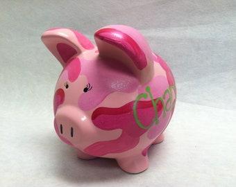 Personalized Piggy Bank PINK Camoflauge