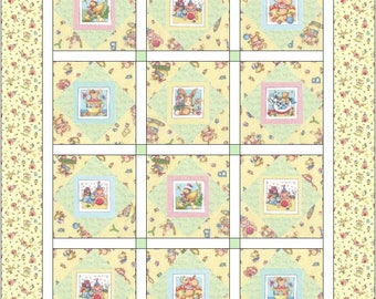 Mary's Cuties Baby Animals Quilt, Baby Crib Quilt - Toddler Lap Blanket - Mary Engelbreit Designs - Baby Shower Gift