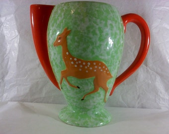 FREE SHIPPING rare pitcher deer vintage (Vault 12)