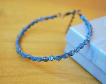 Delicate minimalist small unique bracelet, sky blue beaded jewelry, bridesmaid jewelry, dainty bracelet, everyday simple design jewelry