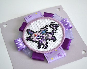 Brooch embroidered cross stitch - Espeon