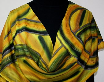 Silk Scarf Hand Painted Golden Yellow Black Hand Dyed Scarf Silk Shawl GOLDEN ROADS Large Scarf 14x70 Birthday Gift Scarf Gift Wrapped Scarf
