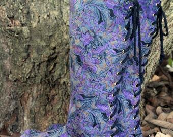 Womens Moccasin Boots In Purple Indonesian Batik, Vegan