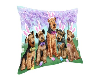 Airedale Terriers Dog Easter Holiday Throw Pillow
