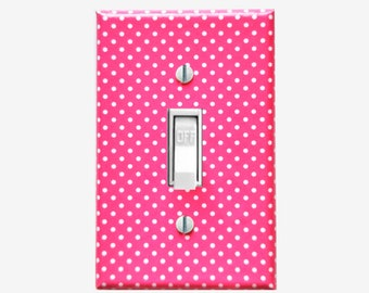 Decorative light switch plate cover Girls Hot Pink bedroom Polka dot decor