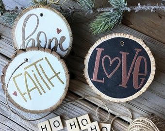 PERSONALIZED WOOD ORNAMENT, Embossed Custom Ornament, Hand Lettering, Wood, Custom, Name, Birch, Pine, Name Plate, Table Setting