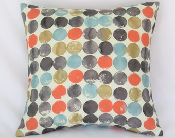 """Coral Teal Grey Dots Pillow Cover, Waverly Fabric, Blue Orange Gold, Mod Watercolor Print, 17"""" Cotton Sq, Ready Ship"""