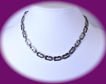 Statement Necklace Vintage Necklace Silver Tone Necklace Link Necklace Chain Necklace Elegant Necklace Vintage Jewelry Statement Jewelry