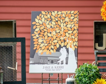 Canvas Wedding Guest Book, Wedding Inspiration // Wedding Art // Wedding Guest Signature Poster // 175+ Signature Guestbook // W-T05-1PS HH3