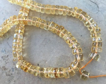Citrine Disk Beads, Citrine Wheel Beads, 14.5 inch strand, 5mm
