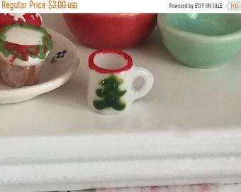 SALE Miniature Christmas Tree Mug, Ceramic Cup, Dollhouse Miniature, 1:12 Scale, Mini Mug, Holiday Decor, Dollhouse Accessory, Crafts