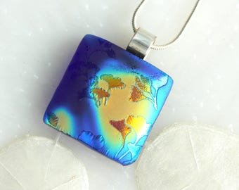 Ginkgo Leaves Satin Dichroic Glow Fused Glass Pendant 01257, GetGlassy