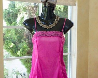 Vintage 1980s Lace and Nylon Camisole in Vibrent Pink, Size 12 (370)