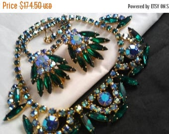 ON SALE Juliana D&E Aurora Borealis Skinny Navette Collar Necklace and Earrings Set - Vintage Statement Rhinestone Demi - 60's Jewelry