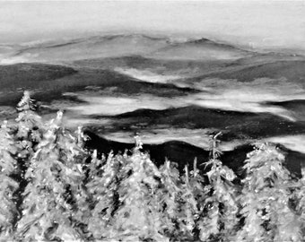 Winter in the Smoky Mountains - Pastel Landscape Print