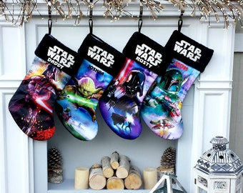 Star Wars Christmas Stockings Yoda Darth Vader  Boba Fett - Officially Licensed - Embroidered with Names for Star Wars Fans - Kids or Adults