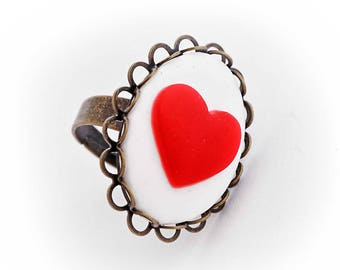 Heart cabochon cameo ring ACE of hearts alice kawaii wedding card