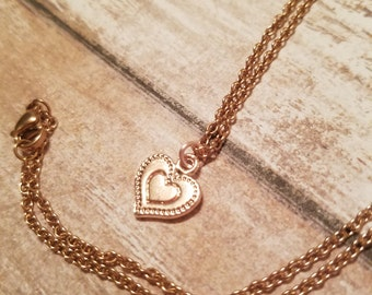 Sale 14k rose gold heart necklace