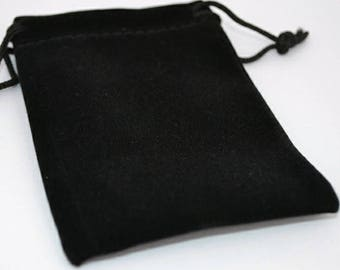 Packaging upgrade - Black double flocked suede gift pouch, draw string gift pouch