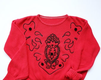 Vintage Oversized Red Knit Sweater with Black Bead Accents - Velvet Buttons, Funky, Punk, Grunge, Women's Medium