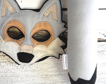 Grey Wolf Costume - Felt Mask, Tail, & Vest - Eco Felt or Wool