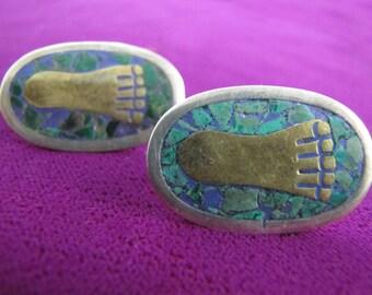 Vintage Mexican Mosaic Nestor Round Footprint Earrings