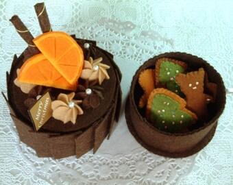 Felt play food,DIY felt Chirismas Sweets (Chocolate Cake,Gingersnap,Candy Box)--PDF Pattern -F03